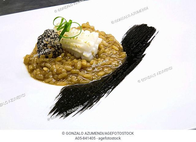 Puffed rice from Pego (Alicante) cooked in broth with squid ink at Martin Berasategui's Kursaal restaurant, San Sebastian, Guipuzcoa, Basque Country, Spain