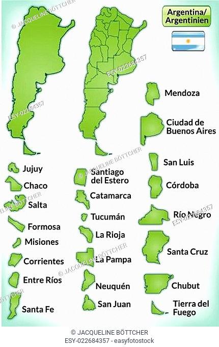 Karte von Argentinien mit Grenzen in Grün