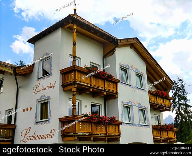 a typical South Tyrolean hotel in Val d Ega / Eggental, Dolomites, Province of Bolzano, South Tyrol, Italian Alps, Italy, Europe