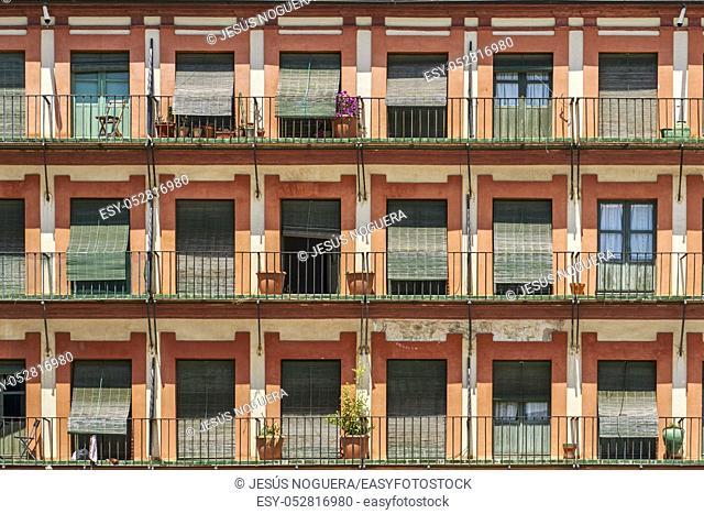 Balconies and windows Corredera square in Cordoba, Andalusia. Spain