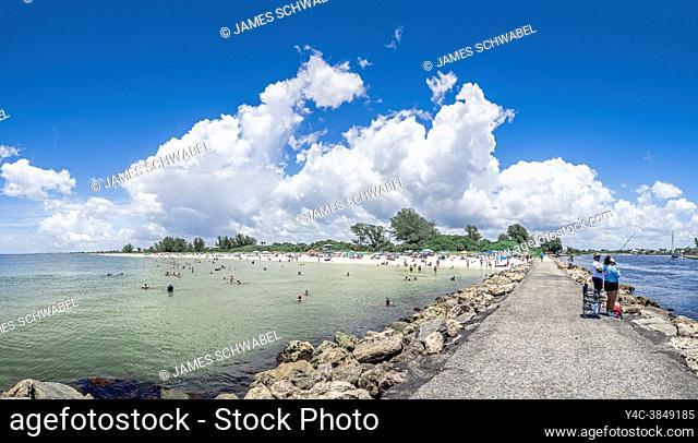 Nokomis Beach on the Gulf of Mexico from the north jetty in Nokomis Florida USA