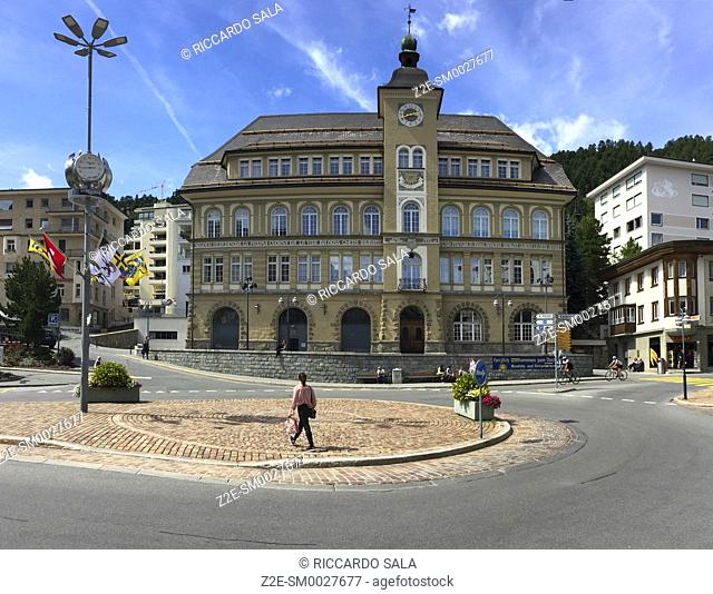 Switzerland, Graubunden Canton, Saint Moritz, Plazza da Scoula Square, Library
