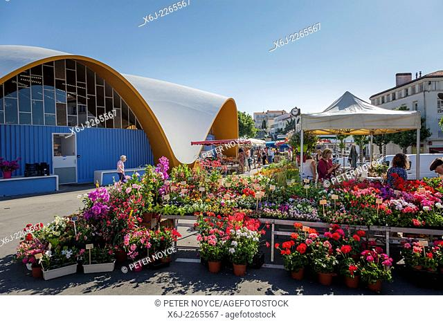 Flower stall outside the covered market at Royan France