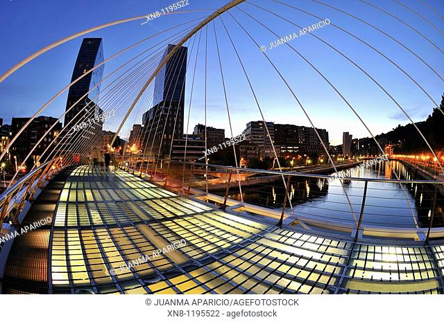 Night Photography of the Isozaki Towers and Bridge in Bilbao Santiago Calatrava