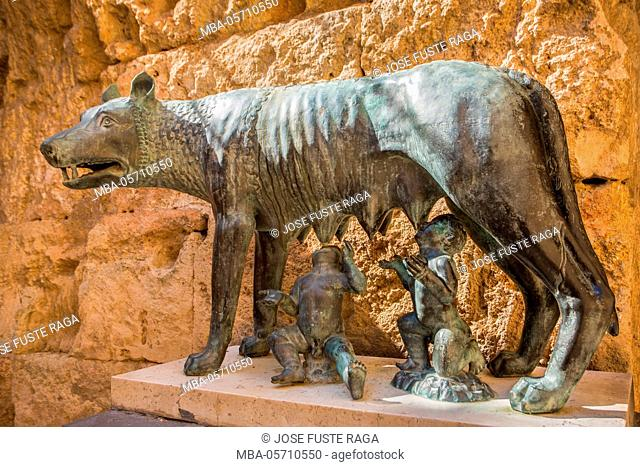 Spain, Catalonia, Tarragona City, August Palace, Rome Symble, The wolf and Romolus and Remo