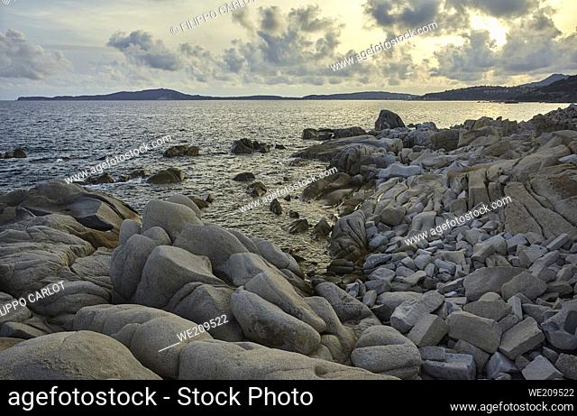 Beautiful southern coast of Sardinia made of stones and granite rocks that form a natural conformation of absolute scenic impact