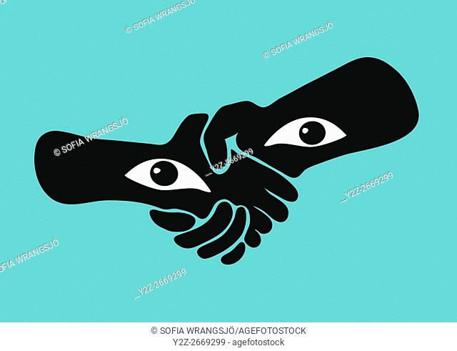 Handshake with eyes in the wrists, watching the viewer