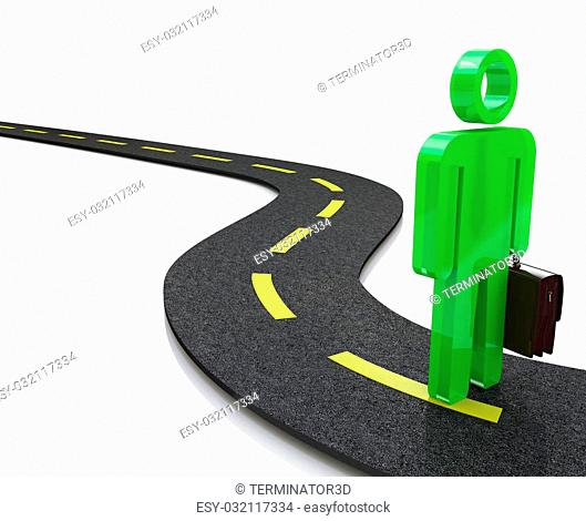 3d person walks on the chosen path. 3d image. White background in the design of information related to the choice of paths
