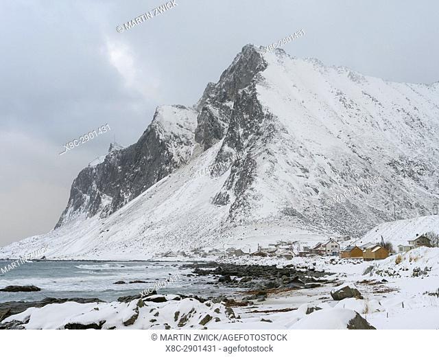 Village Vikten on the island Flakstadoya. The Lofoten Islands in northern Norway during winter. Europe, Scandinavia, Norway, February