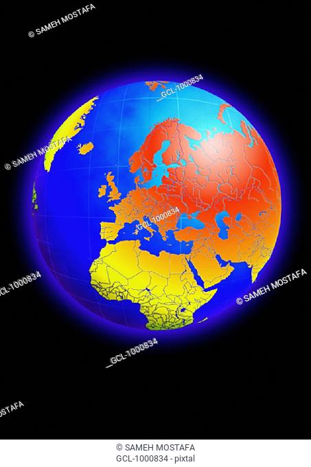 Europe, North Africa and the Middle East on Globe