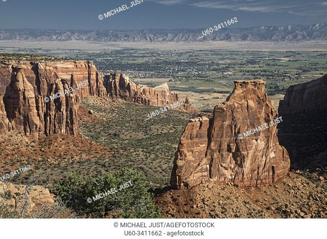 Sandstone spires and steep canyon walls are the predominant features at Colorado National Monument near Grand Junction