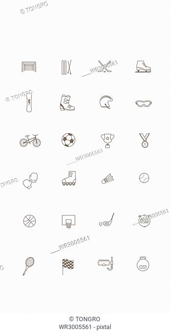 Set of various line icons related to sports
