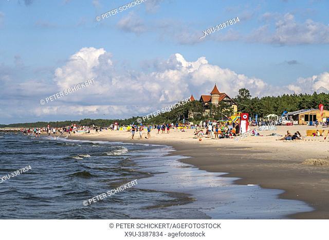 the beach and Neptun hotel at the baltic seaside resort city Leba, Pomerania, Poland, Europe