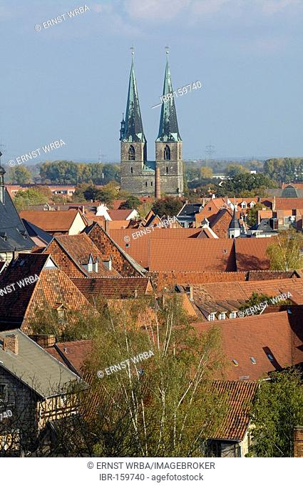 UNESCO World Heritage Site old part of town, church St. Nikolai Quedlinburg, Saxony-Anhalt, Germany