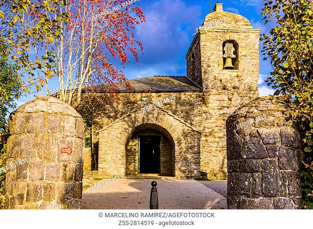 "The Royal St. Mary's Church, also known as the Church of St. Benedict, was built in O Cebreiro in 1965â. ""71 on the foundations of a pre-Romanesque church..."