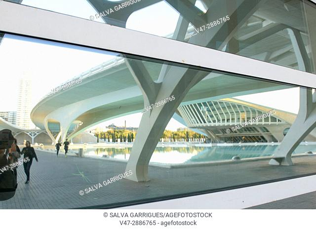Puente de Monteolivete reflected in a window of the City of Arts and Sciences, Valencia, Spain