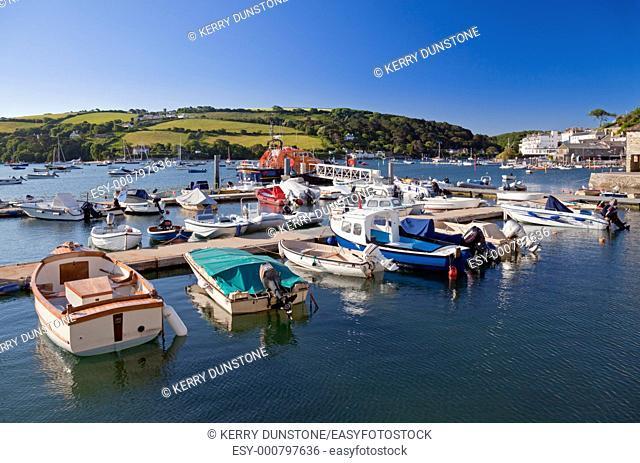 England Devon Salcombe Island Quay with moored boats