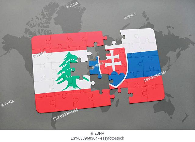 puzzle with the national flag of lebanon and slovakia on a world map background. 3D illustration
