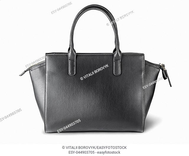 Ladies black leather bag back view isolated on white background
