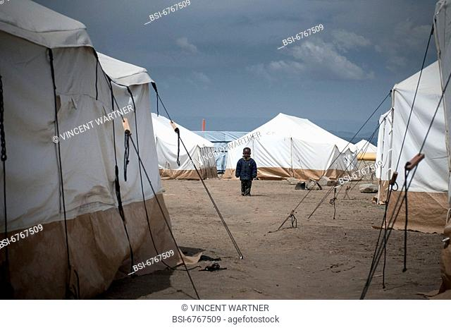 Photo essay. City of Nakuru, Kenya. A child in the camp of displaced people managed by Kenyan Red Cross. The camp gathers more than 300 people running away from...
