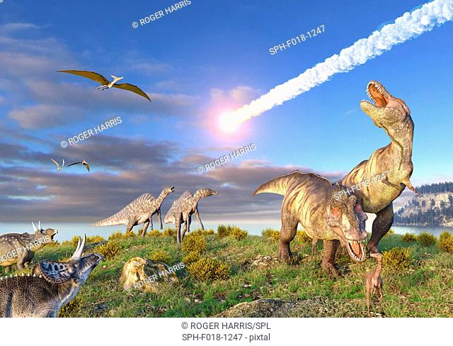Illustration of the K/T Event at the end of the Cretaceous Period. A ten-kilometre-wide asteroid or comet is entering the Earth's atmosphere as dinosaurs