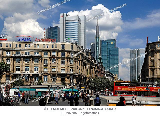 View from the main station towards the city centre, 19th Century buildings at front, skyscrapers at back, Frankfurt am Main, Hesse, Germany, Europe