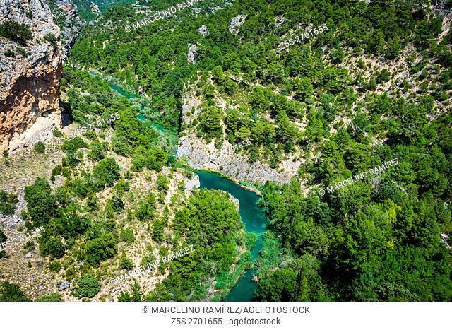 The Júcar river from the viewpoint of Devil Ventano. Villalba de la Sierra, Cuenca, Castilla La Mancha, Spain, Europe