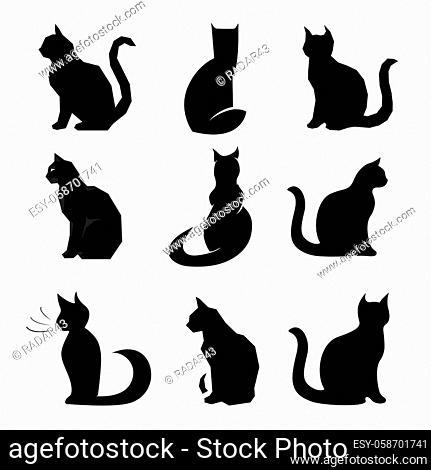 9x black cats vector set collection cute pets
