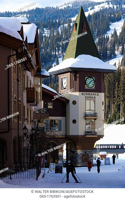 Canada, British Columbia, Sun Peaks, Sun Peaks Resort, village clock tower, winter