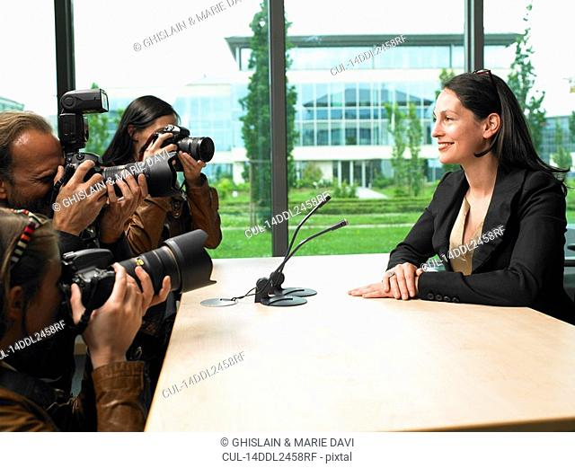 Business woman giving a conference