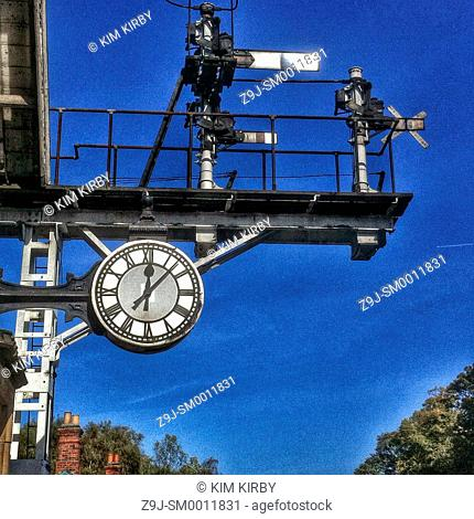 Station clock Grosmont North Yorkshire England UK United Kingdom GB Great Britain