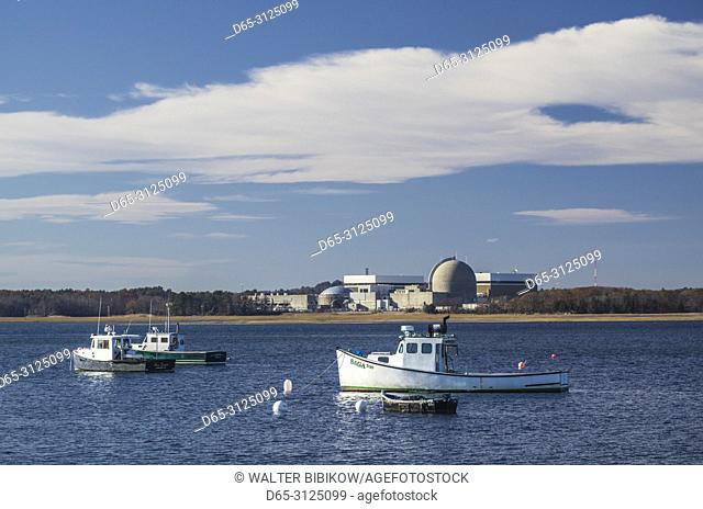USA, New England, New Hampshire, Seabrook, fishing boats and Seabrook Nuclear Power Plant