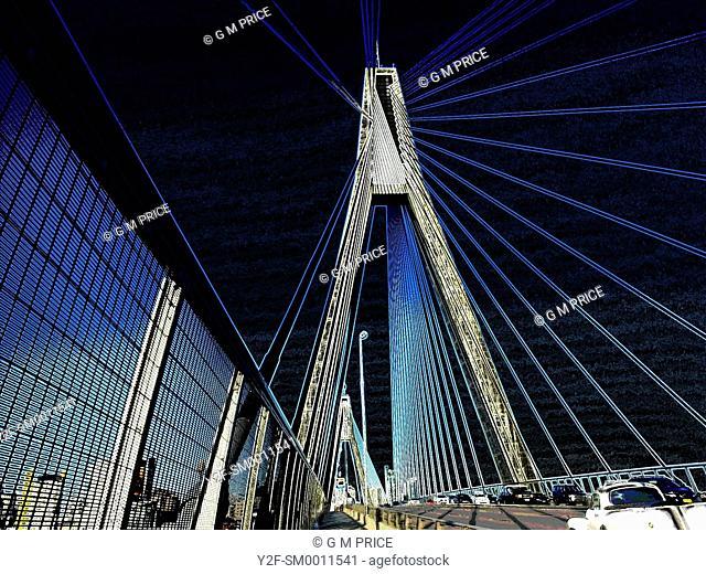 false colour, graphic image of Anzac Bridge and traffic, Sydney