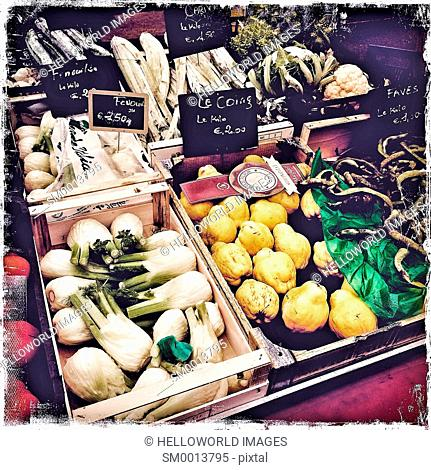 Fruit and vegetables on market stall, Clermont Ferrand, France, Europe