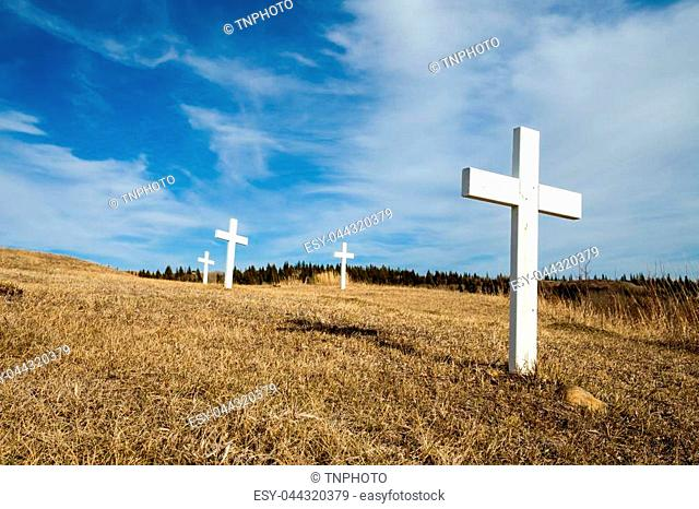 Old cemetery crosses at the Fort Walsh National Historic Site, Saskatchewan
