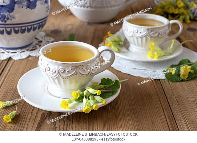 Two vintage cups of herbal tea with fresh wild primula flowers