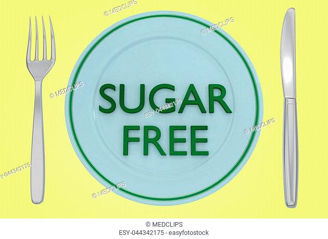 3D illustration of SUGAR FREE title on a pale blue plate, along with silver knif and fork, on a pale yellow background