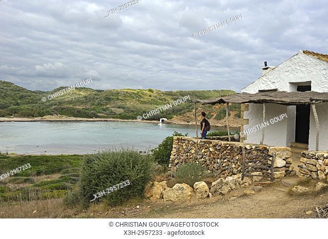 shelter house on the edge of the Cami de Cavalls (hiking trail GR 223) beside the Cala Rambles, s'Albufera des Grau Natural Park, Menorca, Balearic Islands