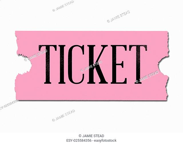 A pink cinema style ticket over a white background