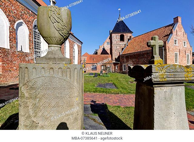 Evangelical Reformed Church, bell tower, brick church, Greetsiel, East Frisia, Lower Saxony, Germany