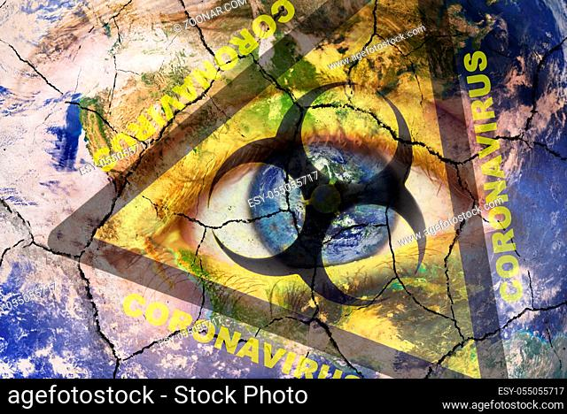 Coronavirus global Pandemic outbreak and quarantine concept. Creative composite of of woman face with cracked World map painted, and biohazard symbol
