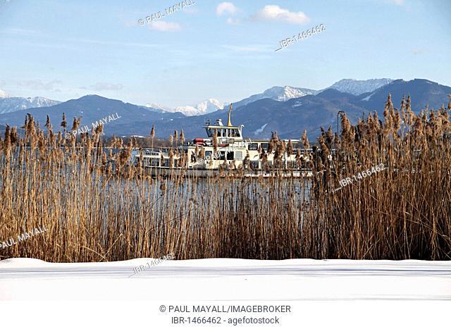 Passenger ferry boat Barbara on Lake Chiemsee, Chiemgau, Upper Bavaria, Germany, Europe
