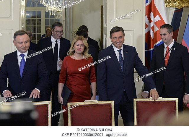 Presidents from left: Polish Andrzej Duda, Serbian Aleksandar Vucic, Slovak Zuzana Caputova and Slovenian Borut Pahor attend a news conference after plenary...
