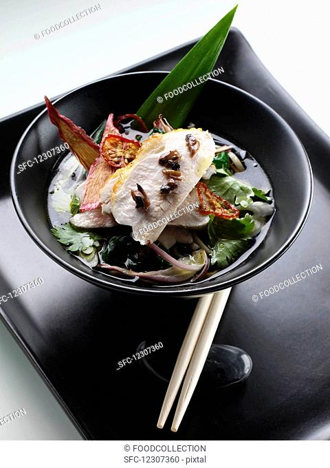 Seared chicken with soba and mushroom noodles in a green tea broth editorial food