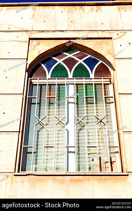 blur in iran kashan the old persian architecture window and glass in background