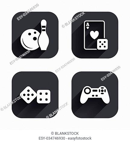 Bowling and Casino icons. Video game joystick and playing card with dice symbols. Entertainment signs. Square flat buttons with long shadow