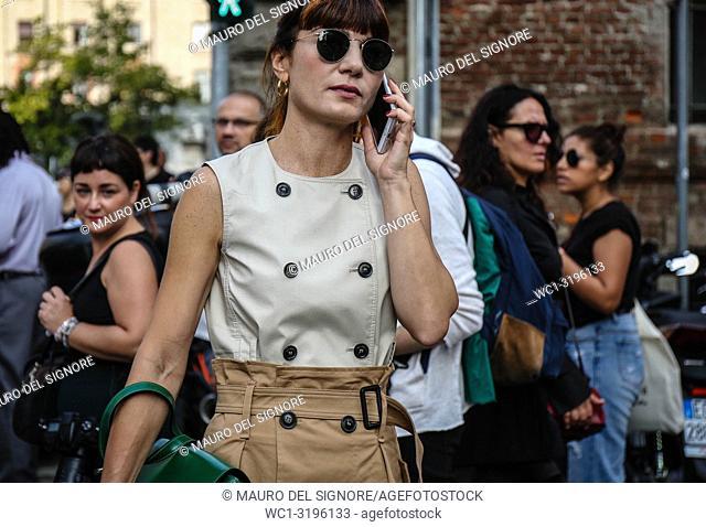 MILAN, Italy- September 20 2018: Daniela Zuccotti on the street during the Milan Fashion Week