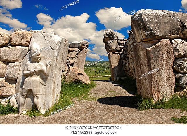 Photo of the Hittite releif sculpture on the Kings gate to the Hittite capital Hattusa 7
