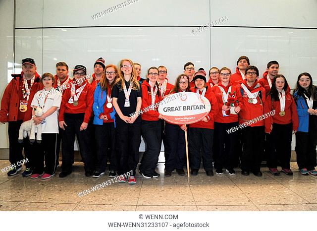 Team GB at Terminal 2 of Heathrow Airport after returning from the 2017 Special Olympics World Winter Games, held in Austria; all 21 members of Team GB won...