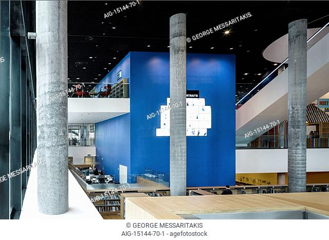 Birmingham Library. Close up view of the columns in the library. Blue walls. Contemporary architecture and interior design